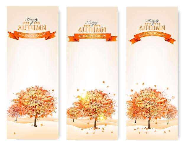 Осенний фон с красочными листьями и деревьями. иллюстрация.