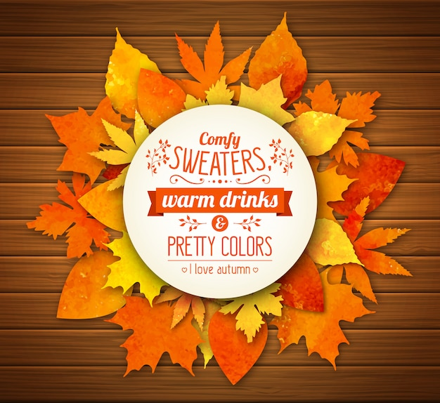 Autumn background with colorful watercolor leaves