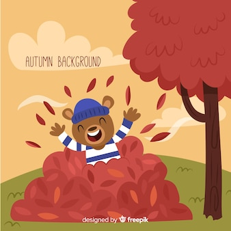 Autumn background with cute bear