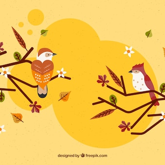 Autumn background with cute birds