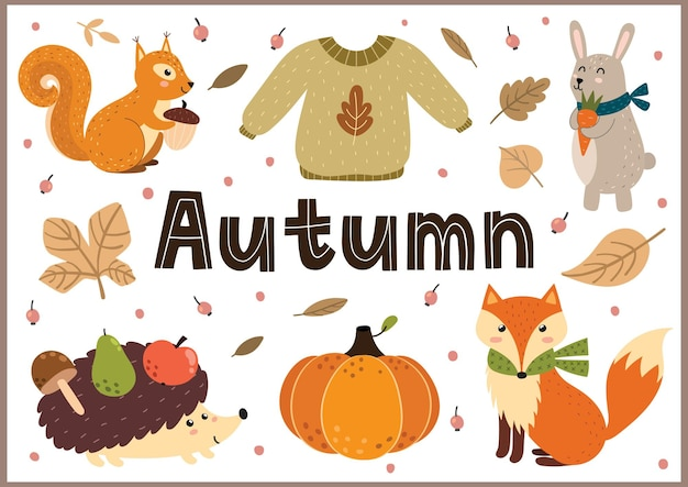 Autumn background with cute forest animals and leaves fall season banner in cartoon style