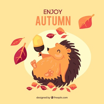 Autumn background with cute hedgehog