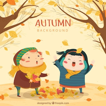 Autumn background with cute kids