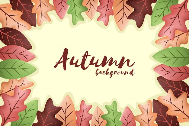 Autumn background with falling leaf