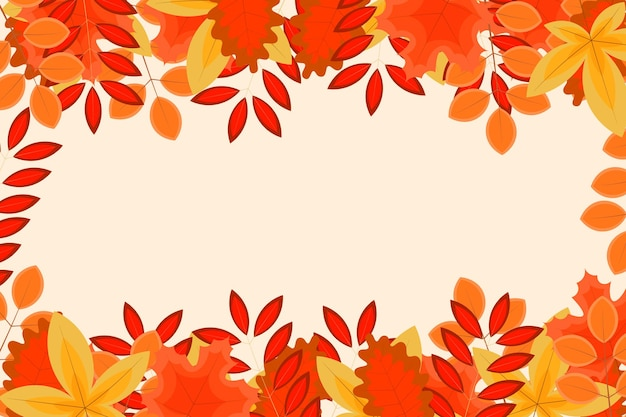 Autumn background with flat leaves. vector illustration.