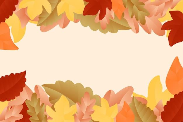 平らな葉と秋の背景。ベクトルイラスト。
