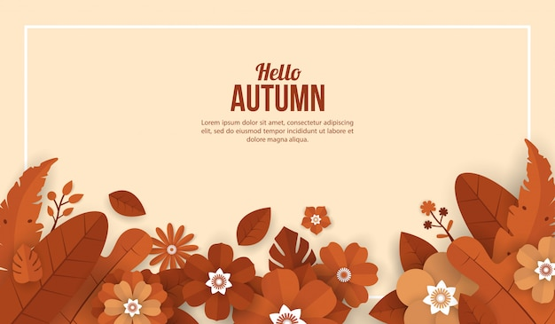 Autumn background with flower elements in paper cut style