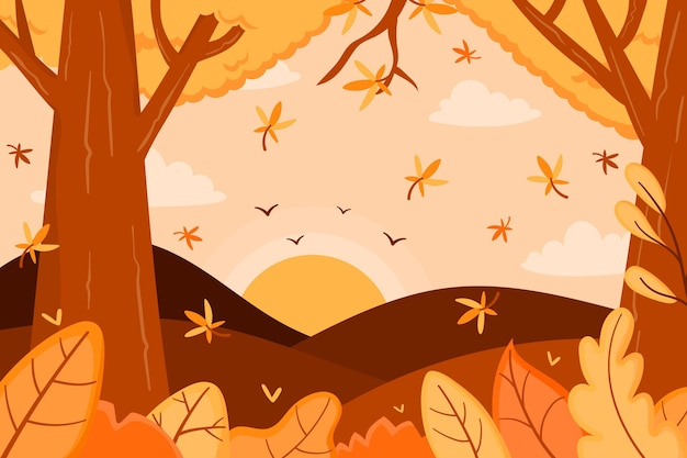 Autumn background with forest and trees