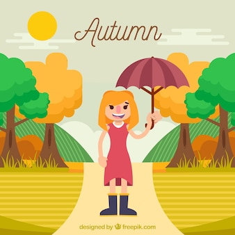 Autumn background with girl and landscape