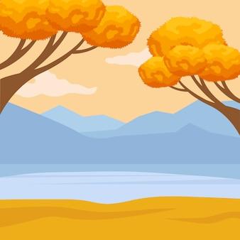手描きの秋のテキストとその周りの葉と秋の背景。ベクトルイラスト