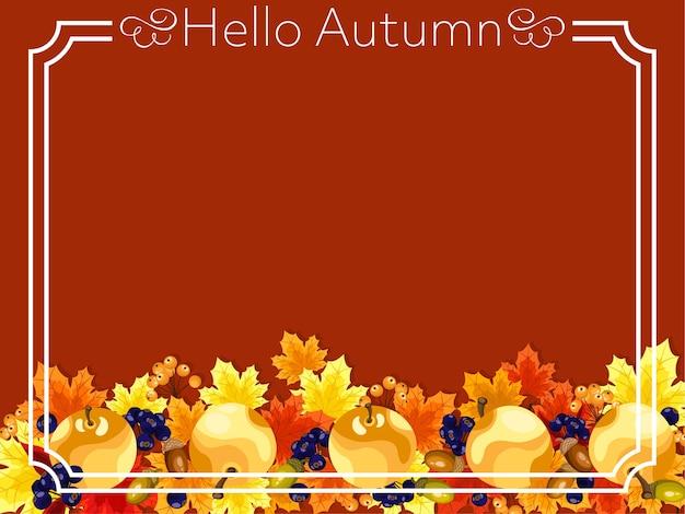こんにちは秋のテキストと秋の背景。