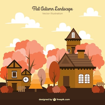 Autumn background with houses