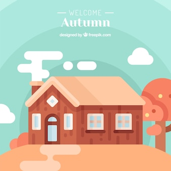 Autumn background with a hut