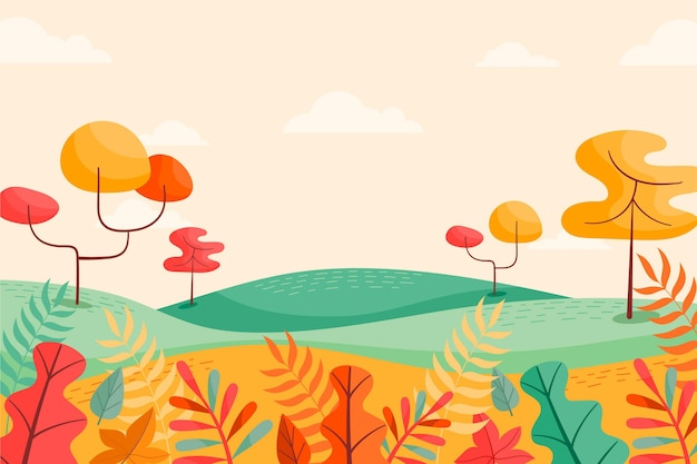 Sfondo autunno con paesaggio e alberi
