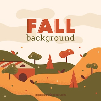 Autumn background with landscape