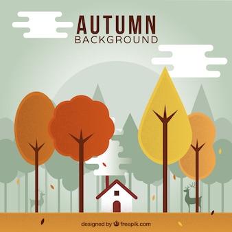 Autumn background with landscape