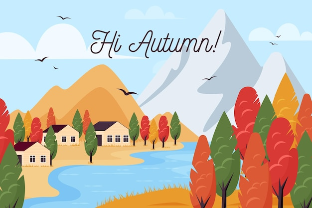 Осенний фон с пейзажем