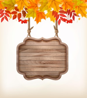 Осенний фон с листьями. и деревянный знак. вектор.