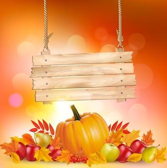 葉と木の看板と秋の背景。ベクター。