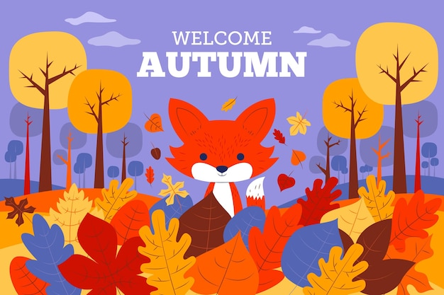 Autumn background with leaves and fox