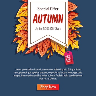 Autumn background with leaves for shopping sale or promo poster and frame leaflet