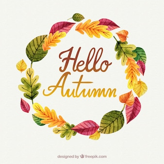 Autumn background with leaves wreath