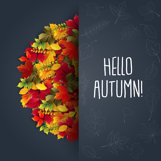 Autumn background with maple leaves Premium Vector