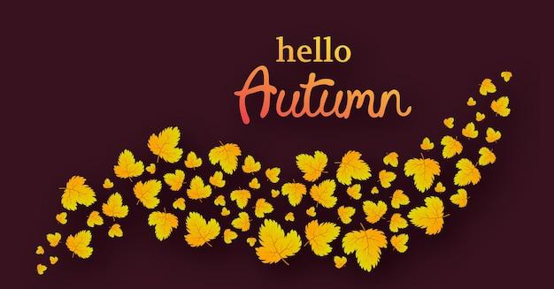 Осенний фон с кленовыми желтыми листьями и место для текста. дизайн баннера для осеннего сезона баннера или плаката. векторная иллюстрация