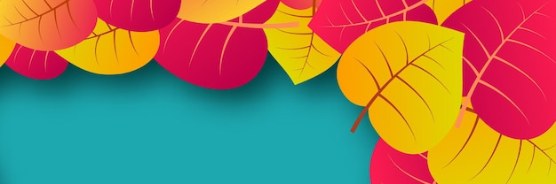 Autumn background with maple yellow leaves and place for text.  banner design for fall season banner or poster. vector illustration