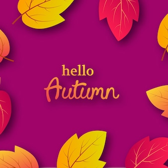 Autumn background with maple yellow leaves and place for text.  card design for fall season banner or poster. vector illustration