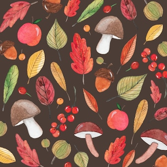 Autumn background with mushrooms and acorns