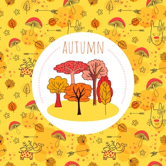 Autumn background with pattern and doodle trees
