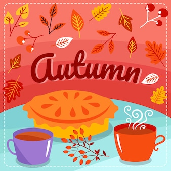 Autumn background with pie, tea cups and fallen leaves
