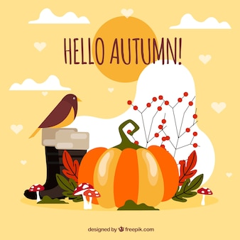 Autumn background with pumpkin