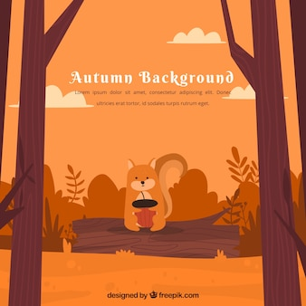 リスの秋の背景