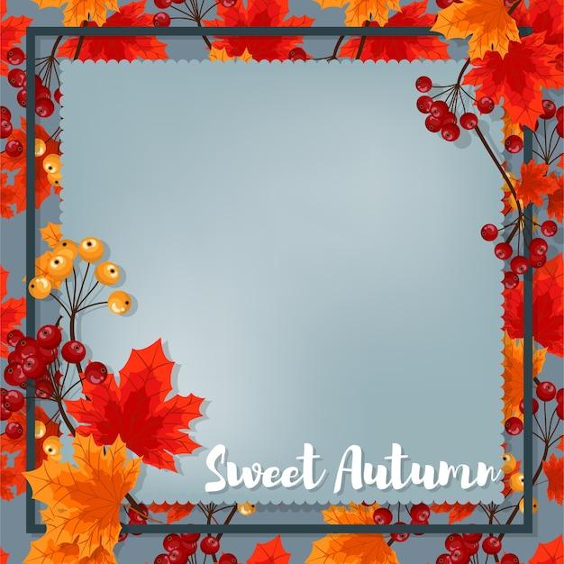 Autumn background with sweet autumn text.