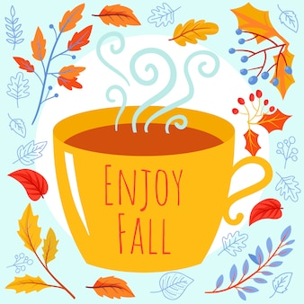 Autumn background with tea cup, autumn branches and leaves