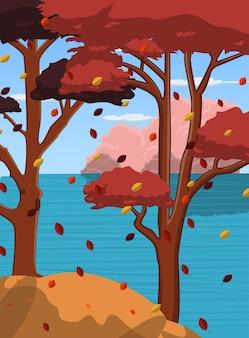 Осенний фон с деревом на берегу реки
