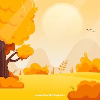 Sfondo autunnale con alberi e paesaggio