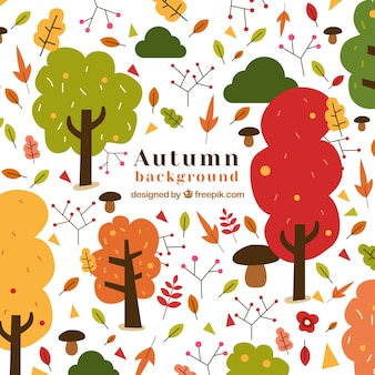 Autumn background with trees and leaves