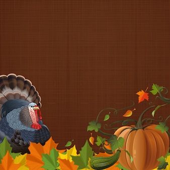 Autumn background with turkey, pumpkin, fallen leaves and free space for text. autumn design.