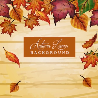 Autumn background with watercolor orange, yellow and green leaves