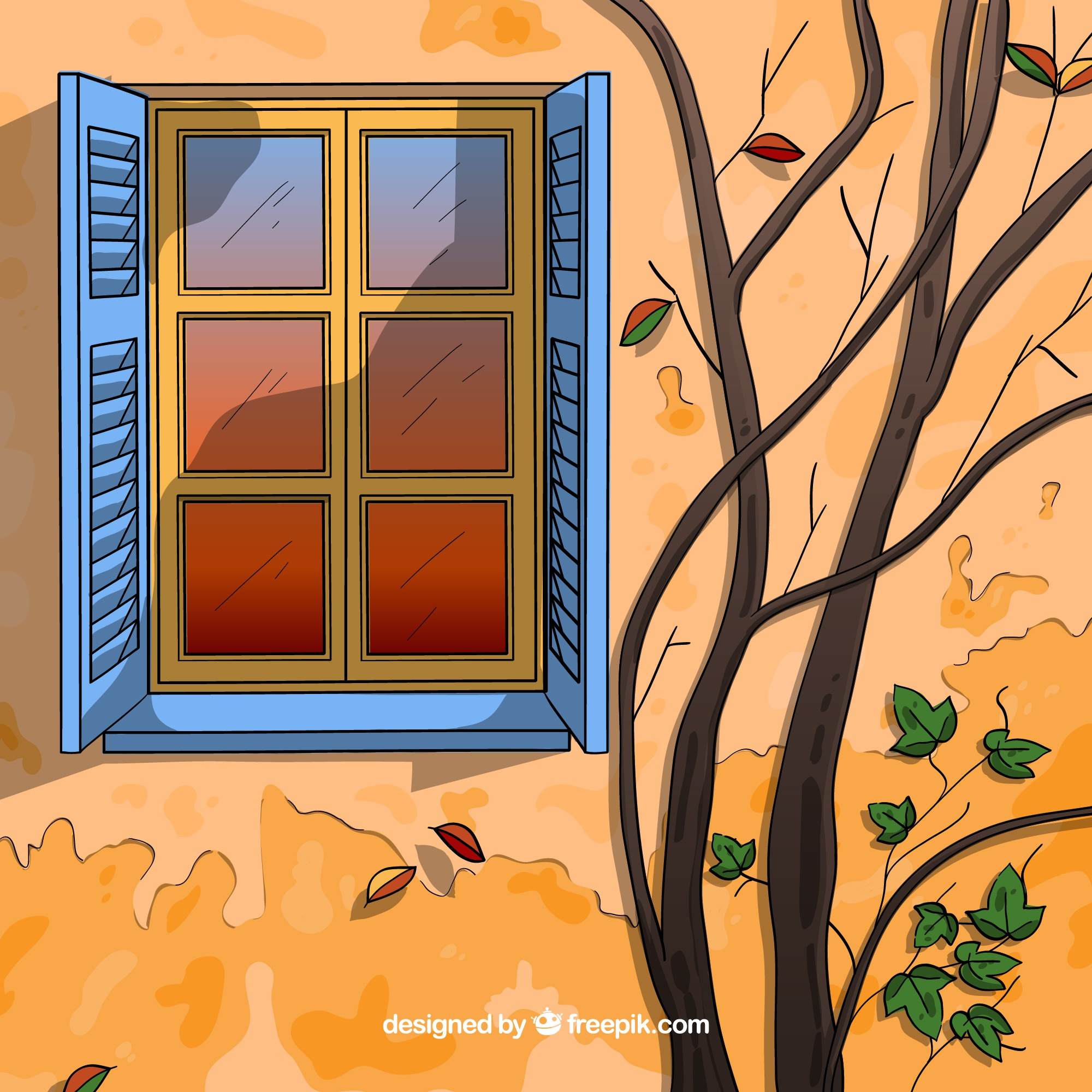 Autumn background with window and branches
