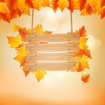 Autumn background with wooden board vector illustration
