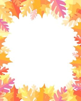 텍스트 벡터 일러스트 레이 션에 대 한 장소를 가진 노란색 붉은 오렌지 잎가 배경