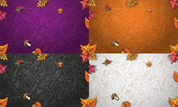 Autumn backgrounds collection. vegetables, fruits and autumn falling leaves. vector autumn pattern