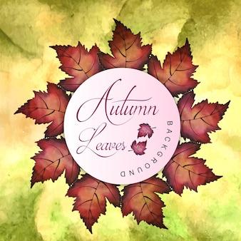 水色の橙色、黄色、緑色の葉を持つ秋の背景