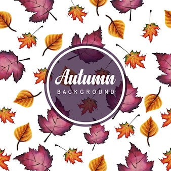 Autumn backgrounds with watercolor orange, yellow and green leaves