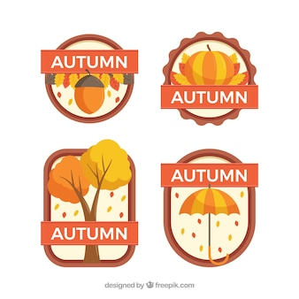 Autumn badges collection with leaves
