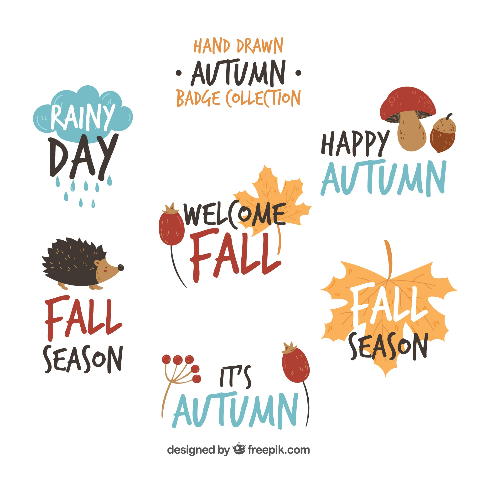 Autumn badges collection with nature